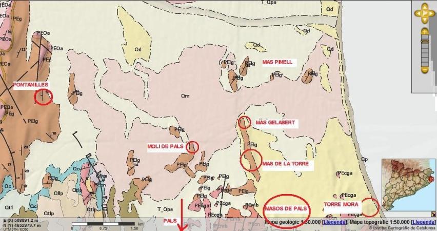 Mapa geològic de Pals
