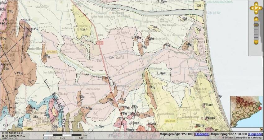 Superposició del mapa topogràfic i geològic de Pals